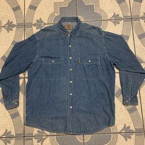 Vintage Armani Jeans Denim Snap Button Down Shirt